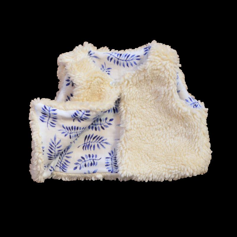 gilet Nuuk réversible molleton coton bio gots safari bleu