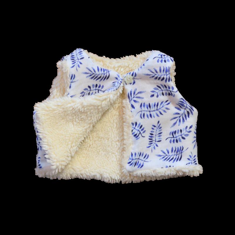 gilet Nuuk réversible coton bio safari bleu molleton