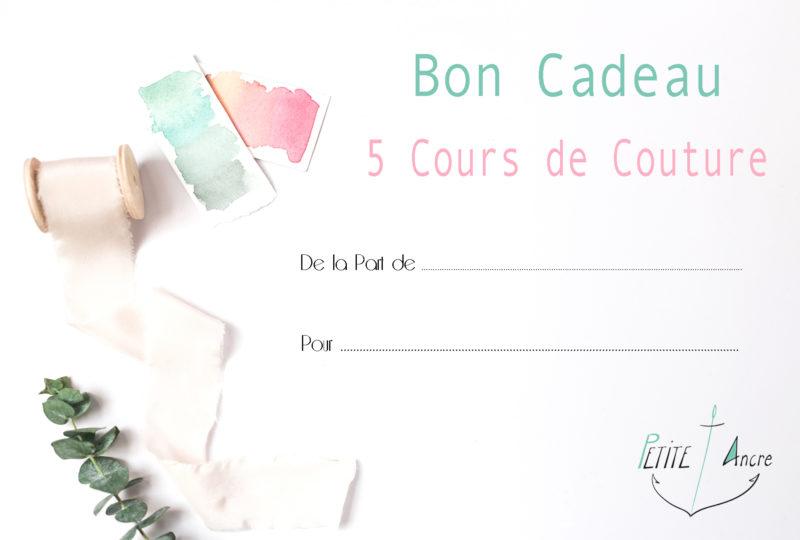 Bon Cadeau 5 cours de couture Petite Ancre Strasbourg