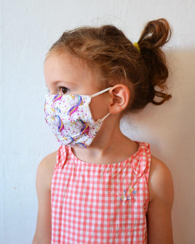 masque tissu enfant afnor porté licornes